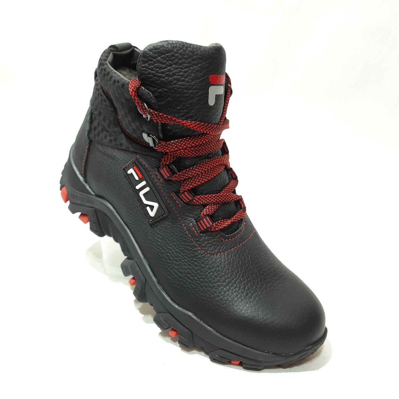 Зимние мужские теплые кожаные ботинки на меху Черные