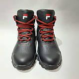 Зимние мужские теплые кожаные ботинки на меху Черные, фото 2