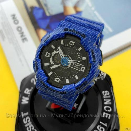 Часы наручные синие Casio Baby-G GA-110 Jeans-Blue / касио джишок синие