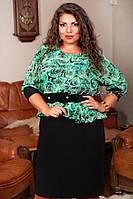 """Женское нарядное платье """"Баско шифон Роза"""" т. масло+шифон / батал / бирюзовый+черный"""