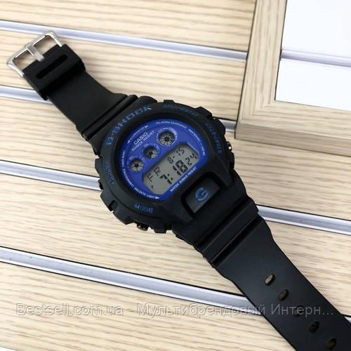 Годинники наручні чорні Casio G-Shock DW-6900 Black-Blue / касіо джишок чорні з червоним
