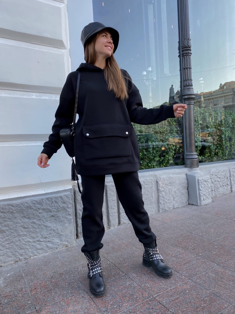 Теплый женский спортивный костюм с карманом кенгуру AL 39-580