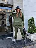 Теплый женский спортивный костюм с карманом кенгуру AL 39-580, фото 2