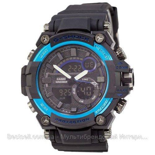 Часы наручные черные Casio G-Shock GST-202 Black-Blue / касио джишок черные