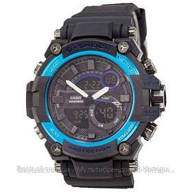 Годинники наручні чорні Casio G-Shock GST-202 Black-Blue / касіо джишок чорні