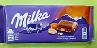 Шоколад Milka с арахисом и карамелью молочный 90 г Уценка сроки, фото 1