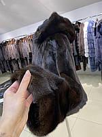 Женская норковая шуба полушубок с капюшоном L размер темно коричневый цвет