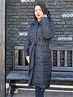 Зимняя теплая длинная куртка пальто пуховик оверсайз одеяло с капюшоном плащевка + силикон, фото 1
