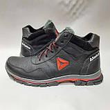 Зимние мужские кожаные ботинки на меху Черные (Большие размеры), фото 6