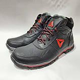 Зимние мужские кожаные ботинки на меху Черные (Большие размеры), фото 4