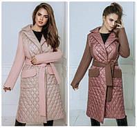 Трендовое женское зимнее пальто стеганное на запах плащевка с кашемиром 2 цвета С М Л Хл Ххл, фото 1