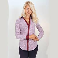 Рубашка женская в бордовую клетку. Длинный рукав,приталенная. С контрастной отделкой. Разм. XS-L. Davanti.