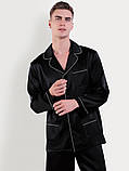 Пижама мужская шелковая черная ( размер 48-54 S-XXXL), фото 4