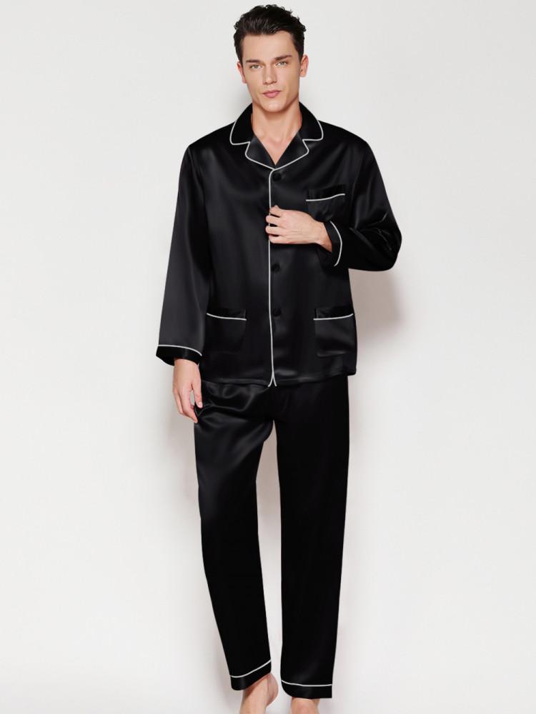 Пижама мужская шелковая черная ( размер 48-54 S-XXXL)