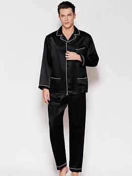 Пижама мужская шелковая атласная черная ( размер 48-56 S-XXXL)