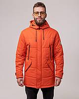 Мужкая теплая парка, зимняя куртка Оранжевая