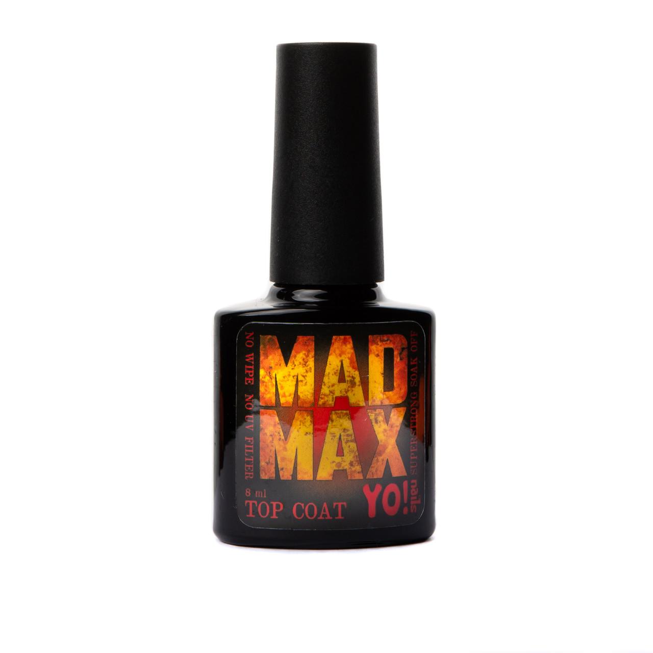 Супер стойкий топ без липкого слоя  Yo!Nails Mad Max, 8 мл