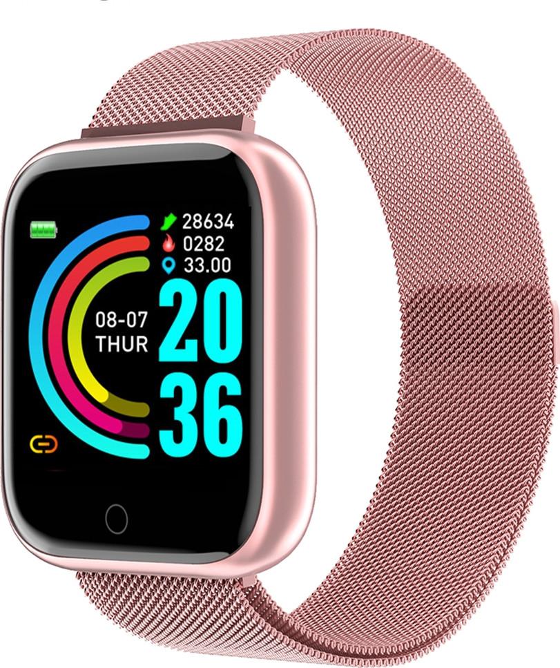 Умные смарт часы Lemfo T80 с тонометром и пульсометром (Розовый)