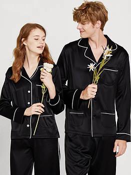 Пижамы парные фемели лук шелковые черные он и она (40-52 XS-XXL)