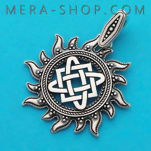 Серебряный оберег Звезда Руси славянский кулон из серебра 925 пробы (43 х 33 мм, 5 г)