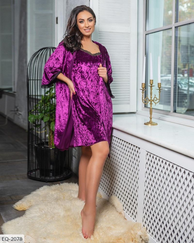 Красивый женский бархатный комплект для сна и отдыха  -ночная рубашка и халат с 58 по 64 размер