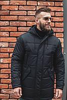 Мужкая теплая парка, зимняя длинная куртка черная