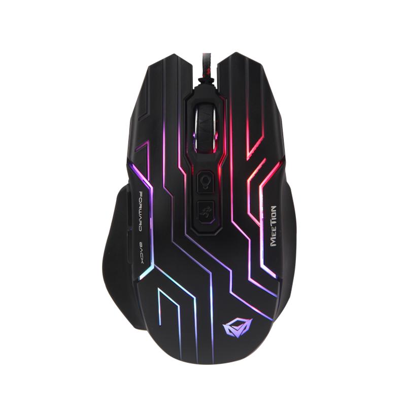 Мышь проводная игровая MEETION Backlit Gaming Mouse RGB MT-GM22, черная