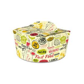 Коробка для лапши и салатов (пастабокс,лапшакап) 1,2 л Светлая