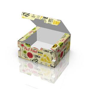 Упаковка для нагетсов, фри, крылышек CНЕК БОКС (фудбокс, чикенбокс) Макси Светлая 130x120x60 мм бумажная 50 шт