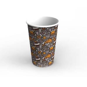 Емкость стакан для супа и первых блюд, снеков и фри 1,4 Л Темный 120/90х180 мм 50 шт бумажная