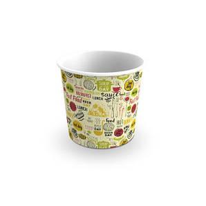 Емкость стакан для супа и первых блюд, снеков и фри 0,7 Л Светлый 114/90х106 мм 50 шт бумажная
