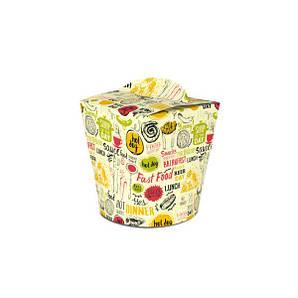 Коробка для лапши и салатов (пастабокс,лапшакап) 600 мл Светлая