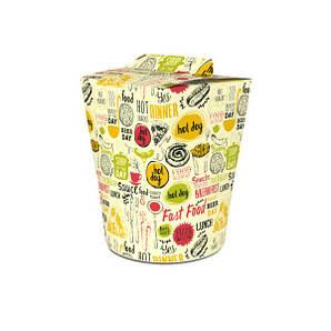 Коробка для лапши и салатов (пастабокс,лапшакап) 900 мл Светлая