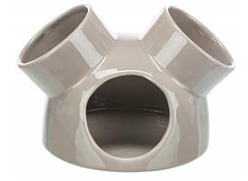 TX-61364 керамический домик с 3 входами для мышей 16х12см