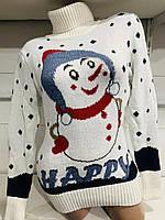 Светр під горло зі сніговиком/ сніжинками жіночий (ПОШТУЧНО) В КОЛЬОРАХ, фото 1