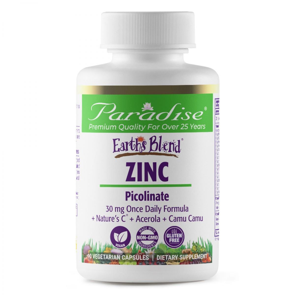 Цинк Пиколинат, 30 мг, Zinc, Picolinate, 90 капсул, PARADISE HERBS, EARTH'S BLEND, USA