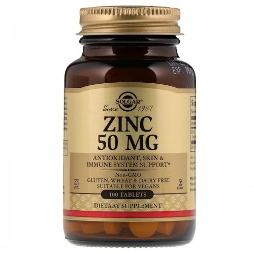 Цинк, 50 мг, Солгар, Zinc 50 mg, Solgar, 100 таблеток, США