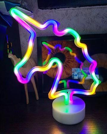 Ночник неоновый лампа Единорог Rainbow