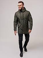 Мужкая теплая парка, зимняя длинная куртка хаки