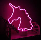 Ночник неоновый лампа Единорог Pink, фото 3