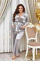 Стильный женский костюм для дома из велюра с 48 по 62 размер
