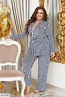 Стильный женский костюм для дома из велюра в полоску с 48 по 62 размер
