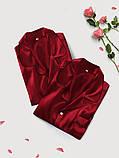 Пижамы парные фемели лук шелковые  бордо он и она (40-52 XS-XXL), фото 6