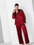 Пижамы парные фемели лук шелковые  бордо он и она (40-52 XS-XXL), фото 4