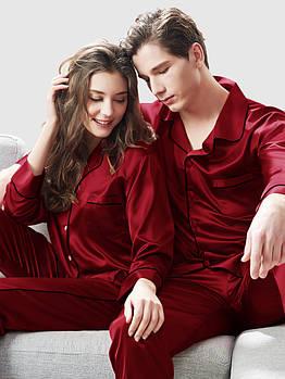 Пижамы парные фемели лук шелковые  бордо он и она (40-52 XS-XXL)