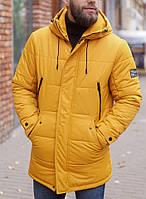 Мужкая теплая парка, зимняя длинная куртка желтая