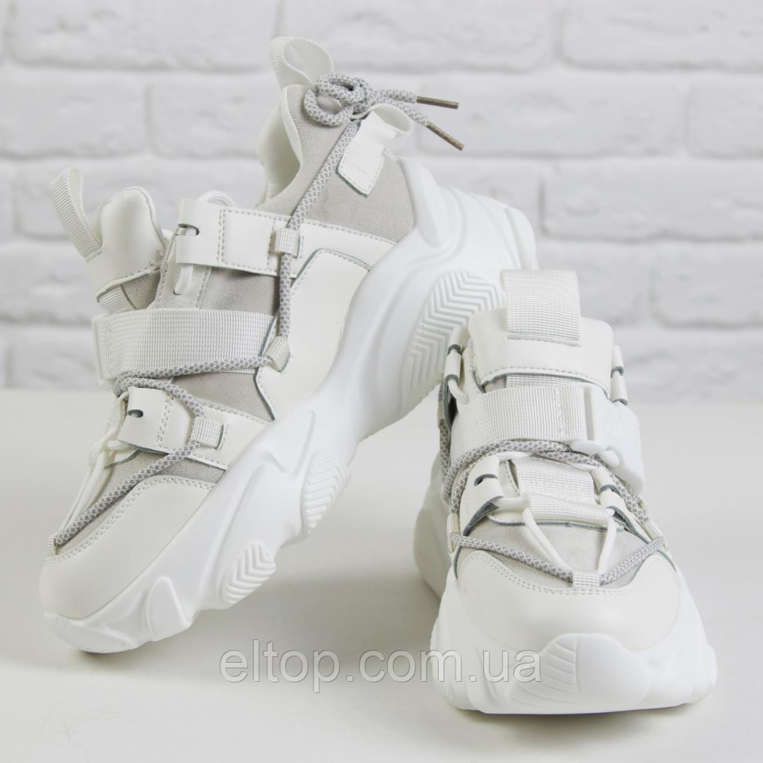 Модные зимние женские кроссовки c мехом молодежные теплые белые Violeta размер 36 - 41