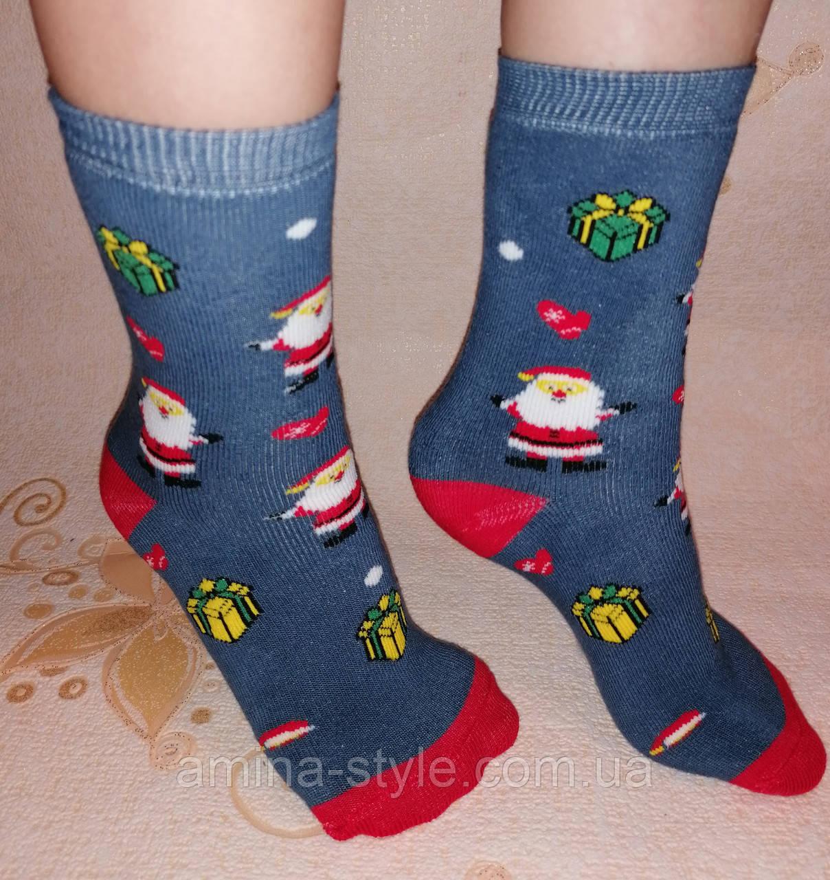 Детские махровые носки Новогодние, разные цвета. Размер 20-22 (7-11 лет)