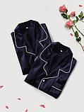 Пижамы парные фемели лук шелковые синие он и она (40-52 XS-XXL), фото 7