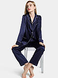 Пижамы парные фемели лук шелковые синие он и она (40-52 XS-XXL), фото 3